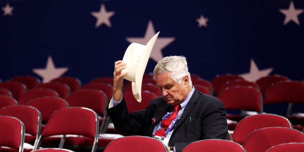 CLEVELAND, OH - JULY 18: Tom Pauken, Republican Delegate of Texas takes off his hat before the start of the first day of the Republican National Convention on July 18, 2016 at the Quicken Loans Arena in Cleveland, Ohio. An estimated 50,000 people are expected in Cleveland, including hundreds of protesters and members of the media. The four-day Republican National Convention kicks off on July 18. (Photo by John Moore/Getty Images)