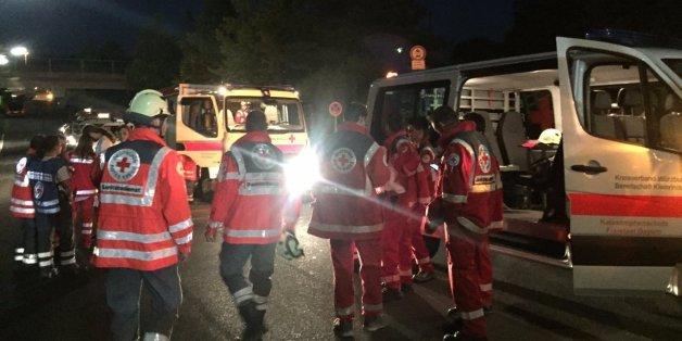 Les secours lundi soir après l'attaque à la hache en Allemagne.