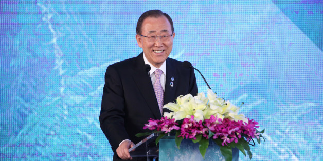 "U.N. Secretary-General Ban Ki-moon speaks during the inaugural ""Xin"" Philanthropy Conference in Hangzhou, Zhejiang Province, China, July 9, 2016. REUTERS/Stringer ATTENTION EDITORS - THIS IMAGE WAS PROVIDED BY A THIRD PARTY. EDITORIAL USE ONLY. CHINA OUT."