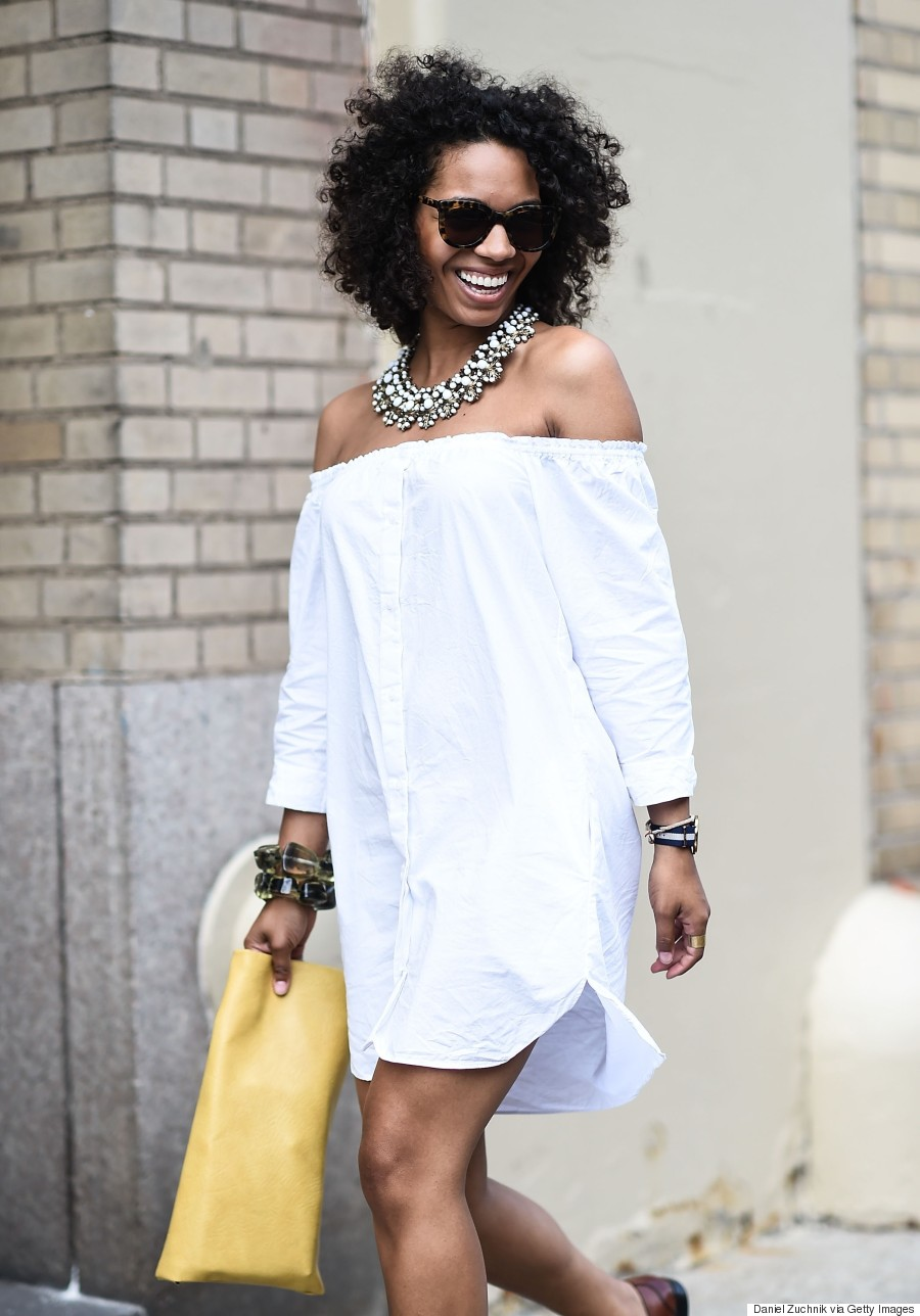 white outfit street style