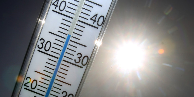 The sun shines down on as a garden thermometer shows 36 degrees celsius (96.8 degrees Fahrenheit) on this year's warmest day in Germany in Frankfurt, Sunday, Aug. 19, 2012. (AP Photo/Michael Probst)