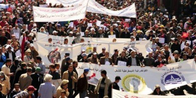Manifestation de syndicats au Maroc