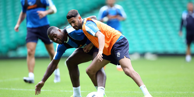 GLASGOW, SCOTLAND - JULY 22:  Riyad Mahrez battles Wes Morgan during the Leicester City Training and Press Conference at Celtic Park on July 22 , 2016 in Glasgow, United Kingdom.  (Photo by Plumb Images/Leicester City FC via Getty Images)