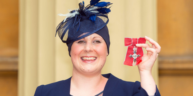 LONDON, ENGLAND - JUNE 12:   Kate Granger holds her MBE which was awarded to her by the Prince of Wales at an investiture ceremony at Buckingham Palace on June 12 , 2015 in London, England.  (Photo by Dominic Lipinski/WPA Pool/Getty Images)