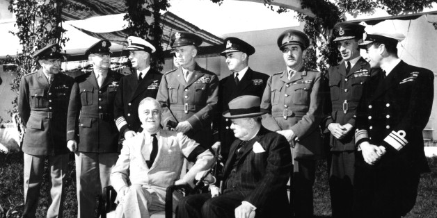 Casablanca conference, Roosevelt and Churchill. Behind President Roosevelt, General Marshall, January 1943, Morocco - World War II. (Photo by: Photo12/UIG via Getty Images)