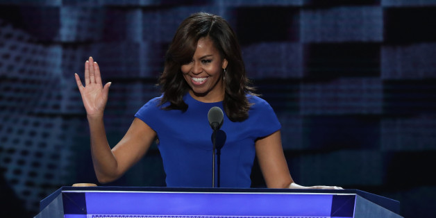 PHILADELPHIA, PA - JULY 25:  First lady Michelle Obama acknowledges the crowd after delivering remarks on the first day of the Democratic National Convention at the Wells Fargo Center, July 25, 2016 in Philadelphia, Pennsylvania. An estimated 50,000 people are expected in Philadelphia, including hundreds of protesters and members of the media. The four-day Democratic National Convention kicked off July 25.  (Photo by Alex Wong/Getty Images)