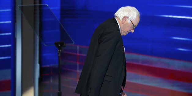 Former Democratic presidential candidate, Sen. Bernie Sanders, I-Vt., walks off the stage during the first day of the Democratic National Convention in Philadelphia , Monday, July 25, 2016. (AP Photo/J. Scott Applewhite)