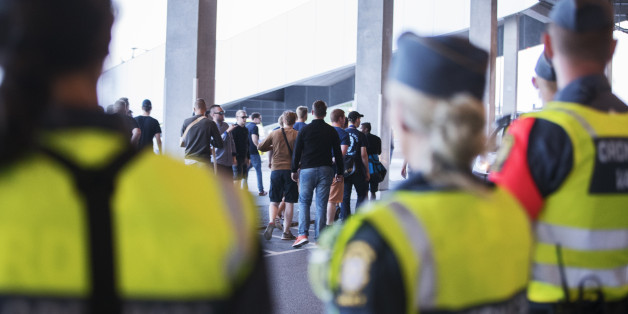 STOCKHOLM, SWEDEN - JULY 25: Players buses protected by police as frustrated fans of Djurgardens IF demanded that Pelle Olsson, head coach of Djurgardens IF, left his job, after the allsvenskan match between Djurgardens IF and GIF Sundsvall at Tele2 Arena on July 25, 2016 in Stockholm, Sweden. (Photo by Nils Petter Nilsson/Ombrello via Getty Images)