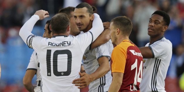 Football Soccer - Galatasaray v Manchester United - Pre Season Friendly - Ullevi Stadium, Gothenburg, Sweden - 30/7/16Manchester United's Zlatan Ibrahimovic celebrates with team mates after scoring their first goalAction Images via Reuters / Henry BrowneLivepic