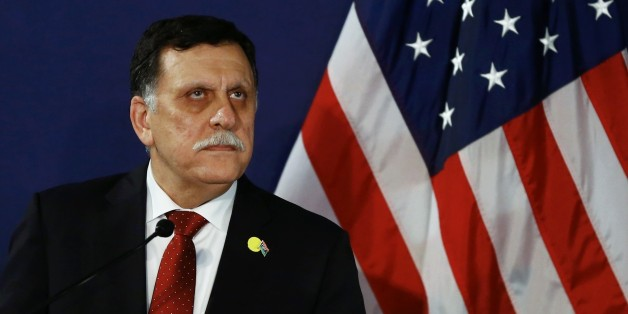 FILE - In this May 16, 2106 file-pool photo, Fayez al-Sarraj, the head of the U.N.-brokered presidency council, attends a news conference in Vienna, Austria. The U.S. launched multiple airstrikes against Islamic State militants Monday, Aug. 1, 2016, opening a new, more persistent front against the group at the request of the UN-backed Libyan government, Libyan and U.S. officials said. Serraj, said in a televised statement that American warplanes attacked the IS bastion of Sirte. No U.S. ground forces will be deployed, he said. (Leonhard Foeger/Pool Photo via AP, File)