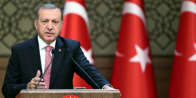ANKARA, TURKEY - AUGUST 02: Turkish President Recep Tayyip Erdogan delivers a speech during a major economic meeting with international investors at Presidential Complex in Ankara, Turkey on August 02, 2016. (Photo by Kayhan Ozer/Anadolu Agency/Getty Images)
