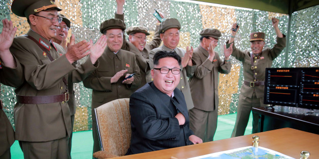 North Korean leader Kim Jong un reacts during a test launch of ground-to-ground medium long-range ballistic rocket Hwasong-10 in this undated photo released by North Korea's Korean Central News Agency (KCNA) on June 23, 2016.  REUTERS/KCNA      TPX IMAGES OF THE DAY       ATTENTION EDITORS - THIS PICTURE WAS PROVIDED BY A THIRD PARTY. REUTERS IS UNABLE TO INDEPENDENTLY VERIFY THE AUTHENTICITY, CONTENT, LOCATION OR DATE OF THIS IMAGE. FOR EDITORIAL USE ONLY. NOT FOR SALE FOR MARKETING OR ADVERTISING CAMPAIGNS. NO THIRD PARTY SALES. NOT FOR USE BY REUTERS THIRD PARTY DISTRIBUTORS. SOUTH KOREA OUT. NO COMMERCIAL OR EDITORIAL SALES IN SOUTH KOREA. THIS PICTURE IS DISTRIBUTED EXACTLY AS RECEIVED BY REUTERS, AS A SERVICE TO CLIENTS.