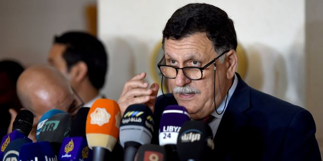 Libyan Prime Minister Fayez al-Sarraj speaks during a press conference following his meeting with representatives of Libyan political parties on July 17, 2016 in Tunis.The UN hosted a second day of talks on Libya with the aim of creating a 'unified' army in a country wracked by internal divisions and a jihadist threat. / AFP / FETHI BELAID        (Photo credit should read FETHI BELAID/AFP/Getty Images)