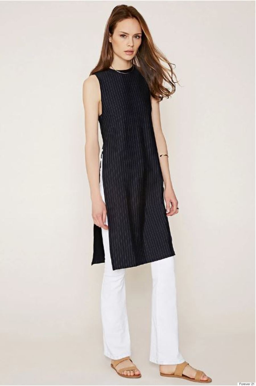 contemporary pinstriped highslit tunic