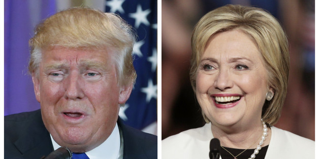 A combination photo shows Republican U.S. presidential candidate Donald Trump (L) in Palm Beach, Florida and Democratic U.S. presidential candidate Hillary Clinton (R) in Miami, Florida at their respective Super Tuesday primaries campaign events on March 1, 2016. Republican Donald Trump and Democrat Hillary Clinton rolled up a series of wins on Tuesday, as the two presidential front-runners took a step toward capturing their parties' nominations on the 2016 campaign's biggest day of state-by-sta