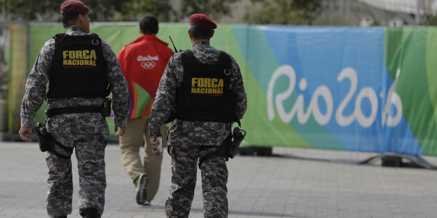 Brazil's security forces walk at the Olympic Park ahead of the 2016 Summer Olympics in Rio de Janeiro, Brazil, Thursday, Aug. 4, 2016. The Games opening ceremony is on Friday.(AP Photo/Natacha Pisarenko)