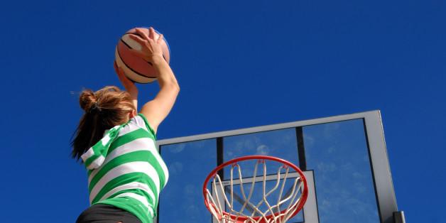 Girl jumps high