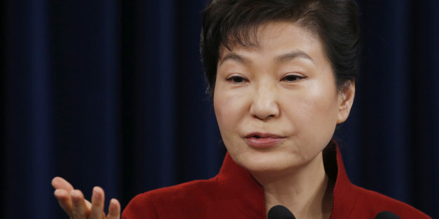South Korean President Park Geun-hye answers to a reporter's question during her news conference at the Presidential Blue House in Seoul, South Korea, Wednesday, Jan. 13, 2016. Park on Wednesday urged North Korea's only major ally, China, to help punish Pyongyang's recent nuclear test with the strongest possible international sanctions. (Kim Hong-ji/Pool Photo via AP)