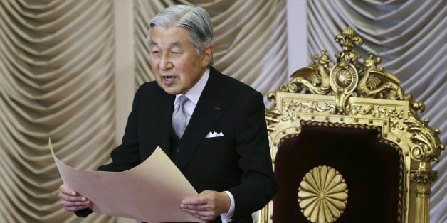 FILE - In this Monday, Aug. 1, 2016, file photo, Japan's Emperor Akihito reads a statement to formally open the extraordinary Diet session at the upper house of parliament in Tokyo, Monday, Aug. 1, 2016. Japan's Emperor Akihito will issue a rare video message to the public Monday amid speculation he wants to abdicate in the coming years. (AP Photo/Koji Sasahara)