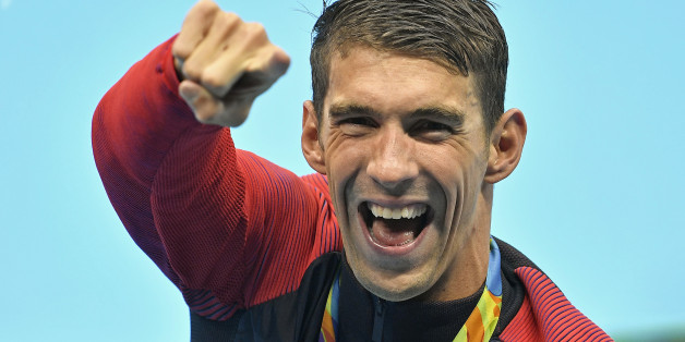 United States' Michael Phelps celebrates after winning the gold medal in the men's 4x100-meter final during the swimming competitions at the 2016 Summer Olympics, Monday, Aug. 8, 2016, in Rio de Janeiro, Brazil. (AP Photo/Martin Meissner)