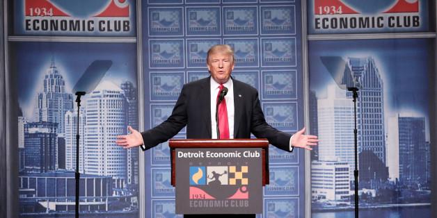 Donald Trump während seiner Rede vor dem Detroit Economic Club