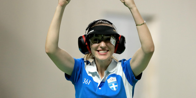 RIO DE JANEIRO, BRAZIL - AUGUST 09:  Anna Korakaki of Greece reacts winning the Women's 25m pistol event on Day 4 of the Rio 2016 Olympic Games at the Olympic Shooting Centre on August 9, 2016 in Rio de Janeiro, Brazil.  (Photo by Sam Greenwood/Getty Images)