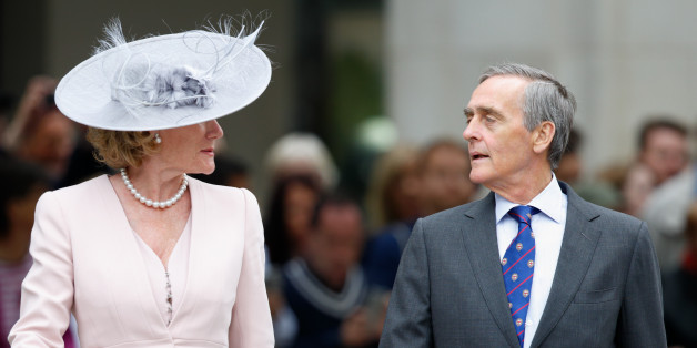 LONDON, UNITED KINGDOM - JUNE 10: (EMBARGOED FOR PUBLICATION IN UK NEWSPAPERS UNTIL 48 HOURS AFTER CREATE DATE AND TIME) Natalia Grosvenor, Duchess of Westminster and Gerald Grosvenor, Duke of Westminster attend a national service of thanksgiving to mark Queen Elizabeth II's 90th birthday at St Paul's Cathedral on June 10, 2016 in London, England. (Photo by Max Mumby/Indigo/Getty Images)