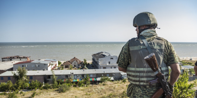 Soldier of the Donbass battalion goes to his surveillance post in the frontline of Shyrokyne, Ukraine. In background, the Azov sea. (Photo by Celestino Arce/NurPhoto) (Photo by NurPhoto/NurPhoto via Getty Images)