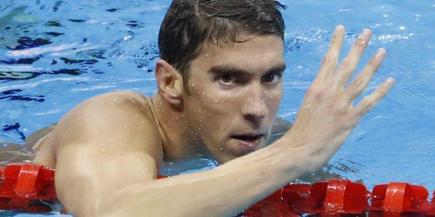 Phelps nach seinem 4. Sieg in Rio.