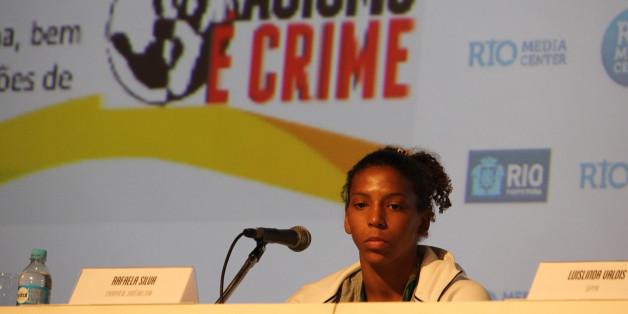 Rafaela Silva lors d'une conférence de presse sur l'égalité raciale et le combat contre le racisme, le 10 août 2016 à Rio