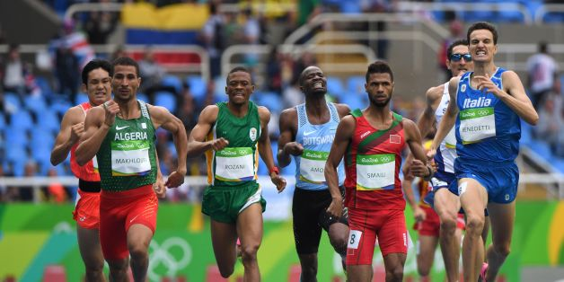 (FromL) Algeria's Taoufik Makhloufi, South Africa's Thamsanqa Jacob Rozani, Botswana's Nijel Amos, Morocco's Mostafa Smaili and Italy's Giordano Benedetti compete in the Men's 800m Round 1 heat during the athletics event at the Rio 2016 Olympic Games at the Olympic Stadium in Rio de Janeiro on August 12, 2016.   / AFP / OLIVIER MORIN        (Photo credit should read OLIVIER MORIN/AFP/Getty Images)