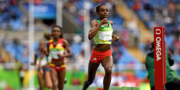 RIO DE JANEIRO, BRAZIL - AUGUST 12:  Almaz Ayana of Ethiopia competes in the Women's 10,000 metres final on Day 7 of the Rio 2016 Olympic Games at the Olympic Stadium on August 12, 2016 in Rio de Janeiro, Brazil.  (Photo by Shaun Botterill/Getty Images)