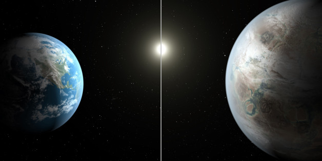 This artist's rendering made available by NASA on Thursday, July 23, 2015 shows a comparison between the Earth, left, and the planet Kepler-452b. It is the first near-Earth-size planet orbiting in the habitable zone of a sun-like star, found using data from NASA's Kepler mission. The illustration represents one possible appearance for the exoplanet - scientists do not know whether the it has oceans and continents like Earth. (NASA/Ames/JPL-Caltech/T. Pyle via AP)