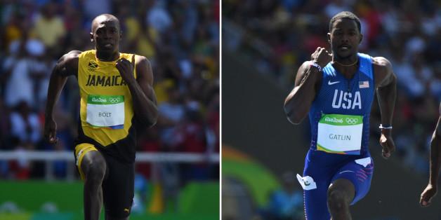 Les sprinteurs Usain Bolt et Justin Gatlin lors des séries du 100 m aux JO de Rio