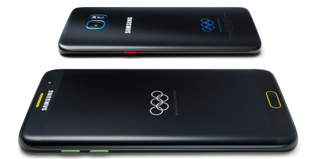This undated product image provided by Samsung shows a special Olympic Games edition of its Galaxy S7 Edge phone. Samsung, an Olympic sponsor, plans to deliver the phone to 12,500 Olympians. The phone is branded with the Olympic rings and has Olympics-themed wallpapers loaded on the device. The company also made 2,016 of the Olympic phones for the public to buy in selected countries, including Brazil, the U.S. and South Korea. (Samsung via AP)