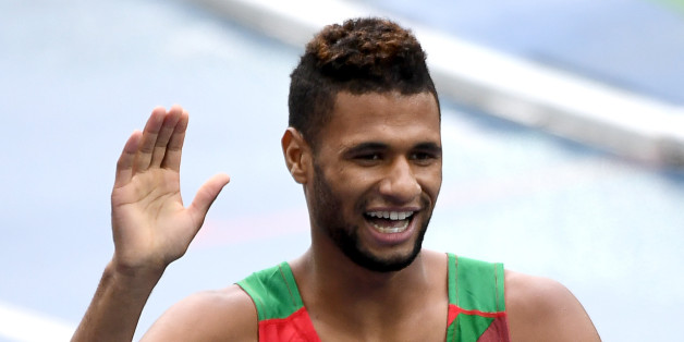 Morocco's Mostafa Smaili waves after competing in the Men's 800m Round 1 heat during the athletics event at the Rio 2016 Olympic Games at the Olympic Stadium in Rio de Janeiro on August 12, 2016.   / AFP / PEDRO UGARTE        (Photo credit should read PEDRO UGARTE/AFP/Getty Images)