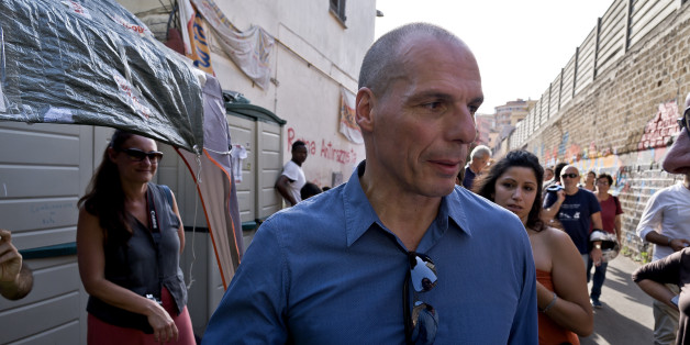 ROME, ITALY  JUNE 23:  Yaris Varoufakis and his movement DiEM25 and former Minister of Finance greek and economist, visited the tent city of the multiethnic center 'Baobab Experience' Via Cupa  on june 23, 2016 in Rome, Italy. (Photo by Stefano Montesi/Corbis via Getty Images).