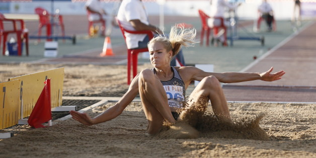 CHEBOKSARY, RUSSIA - JUNE 20, 2016: Athlete Darya Klishina competes in the women's long jump event during the 2016 Russian national track and field championships.