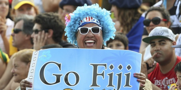 2016 Rio Olympics - Rugby - Preliminary - Men's Pool A Fiji v Brazil - Deodoro Stadium - Rio de Janeiro, Brazil - 09/08/2016.  A Fiji fan shows his support in the stands. REUTERS/Alessandro Bianchi (BRAZIL  - Tags: SPORT OLYMPICS SPORT RUGBY) FOR EDITORIAL USE ONLY. NOT FOR SALE FOR MARKETING OR ADVERTISING CAMPAIGNS.