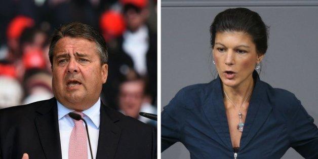 Der SPD-Parteivorsitzende Sigmar Gabriel und die Fraktionschefin der Linken im Bundestag, Sahra Wagenknecht