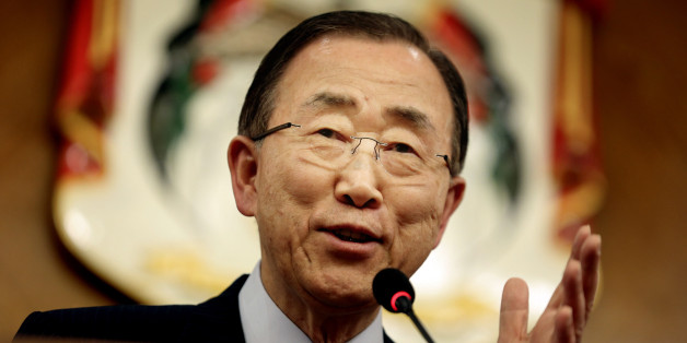 UN Secretary-General Ban Ki-moon, speaks during a press conference with World Bank President Jim Yong Kim, Jordan's Foreign Minister Nasser Judeh and Jordan's Planning Minister Imad Fakhoury, at the Ministry of Foreign Affairs in Amman, Jordan, Sunday, March 27, 2016. (AP Photo/Raad Adayleh)