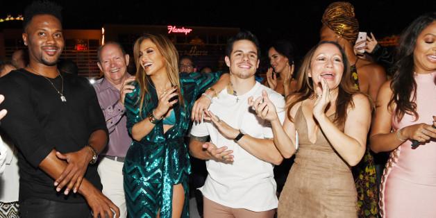 LAS VEGAS, NV - JULY 24:  Jennifer Lopez and Casper Smart attend  Jennifer Lopez's birthday at Nobu Villa Atop Nobu Hotel at Caesars Palace on July 24, 2016 in Las Vegas, Nevada.  (Photo by Denise Truscello/WireImage)