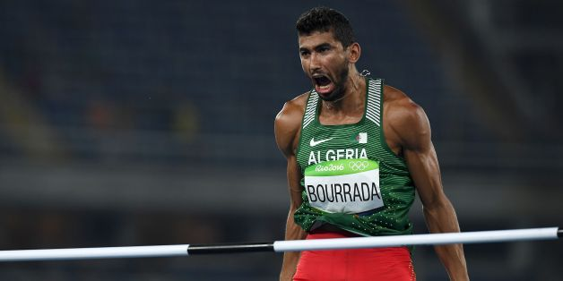 Algeria's Larbi Bourrada reacts as he competes in the Men's Decathlon High Jump during the athletics event at the Rio 2016 Olympic Games at the Olympic Stadium in Rio de Janeiro on August 17, 2016.   / AFP / FRANCK FIFE        (Photo credit should read FRANCK FIFE/AFP/Getty Images)