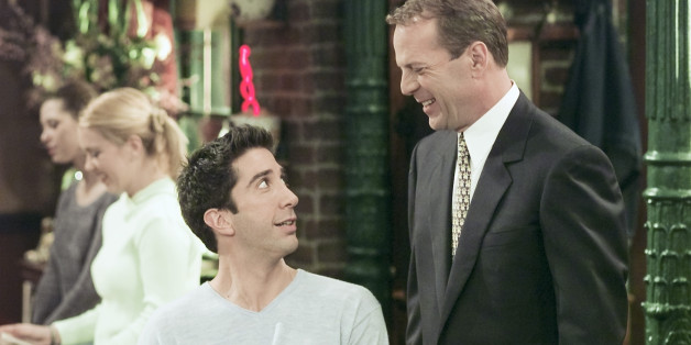 FRIENDS -- 'The One Where Ross Meets Elizabeth's Dad' Episode 21 -- Aired 4/27/2000 -- Pictured: (l-r) David Schwimmer as Ross Geller, Bruce Willis as Paul Stevens  (Photo by Chris Haston/NBC/NBCU Photo Bank via Getty Images)