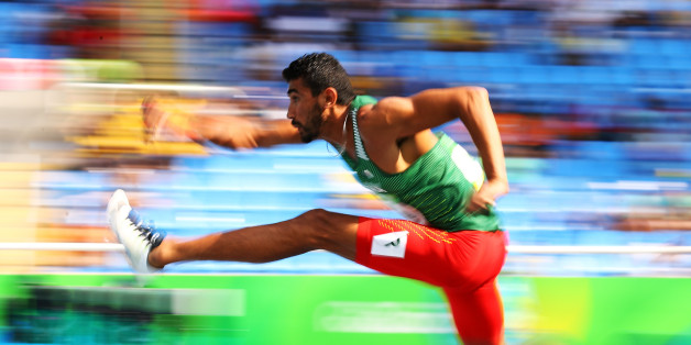 RIO DE JANEIRO, BRAZIL - AUGUST 18:  Larbi Bourrada of Algeria competes in the Men's Decathlon 110m Hurdles on Day 13 of the Rio 2016 Olympic Games at the Olympic Stadium on August 18, 2016 in Rio de Janeiro, Brazil.  (Photo by Ian Walton/Getty Images)