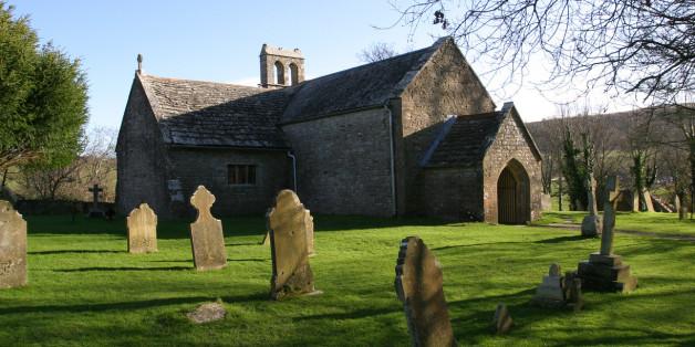 Old english stone church, Tyneham, Dorset