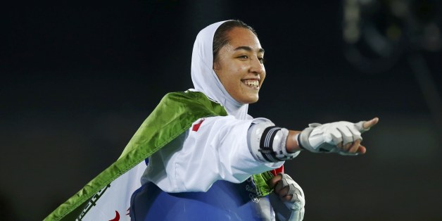 2016 Rio Olympics - Taekwondo - Women's -57kg Bronze Medal Finals - Carioca Arena 3 - Rio de Janeiro, Brazil - 18/08/2016. Kimia Alizadeh Zenoorin (IRI) of Iran celebrates.  REUTERS/Peter Cziborra (BRAZIL  - Tags: SPORT OLYMPICS SPORT TAEKWONDO) FOR EDITORIAL USE ONLY. NOT FOR SALE FOR MARKETING OR ADVERTISING CAMPAIGNS.