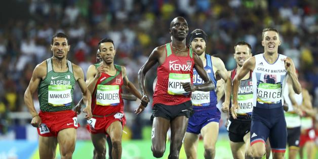2016 Rio Olympics - Athletics - Semifinal - Men's 1500m Semifinals - Olympic Stadium - Rio de Janeiro, Brazil - 18/08/2016. (From L) Taoufik Makhloufi (ALG) of Algeria, Abdalaati Iguider (MAR) of Morocco, Asbel Kiprop (KEN) of Kenya, Ben Blankenship (USA) of USA and Charlie Grice (GBR) of Great Britain compete. REUTERS/Lucy Nicholson FOR EDITORIAL USE ONLY. NOT FOR SALE FOR MARKETING OR ADVERTISING CAMPAIGNS.