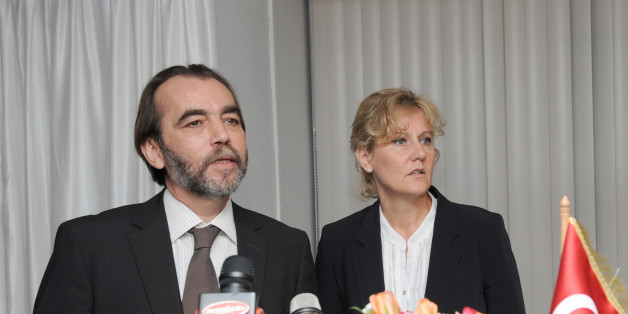 French Minister of Learning and Training, Nadine Morano(R) at a press conference  meets with Tunisian Minister of Employment and Vocational Training Aydi Said(L) on May 23, 2011 in Tunis. Morano is on two day official visit to Tunisia. AFP PHOTO / FETHI BELAID (Photo credit should read FETHI BELAID/AFP/Getty Images)