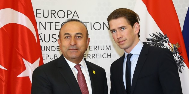 VIENNA, AUSTRIA - MAY 17: Turkish Foreign Minister Mevlut Cavusoglu (L) and Austrian Foreign Minister Sebastian Kurz (R) shake hands before their meeting in Vienna, Austria on May 17, 2016. (Photo by Fatih Aktas/Anadolu Agency/Getty Images)